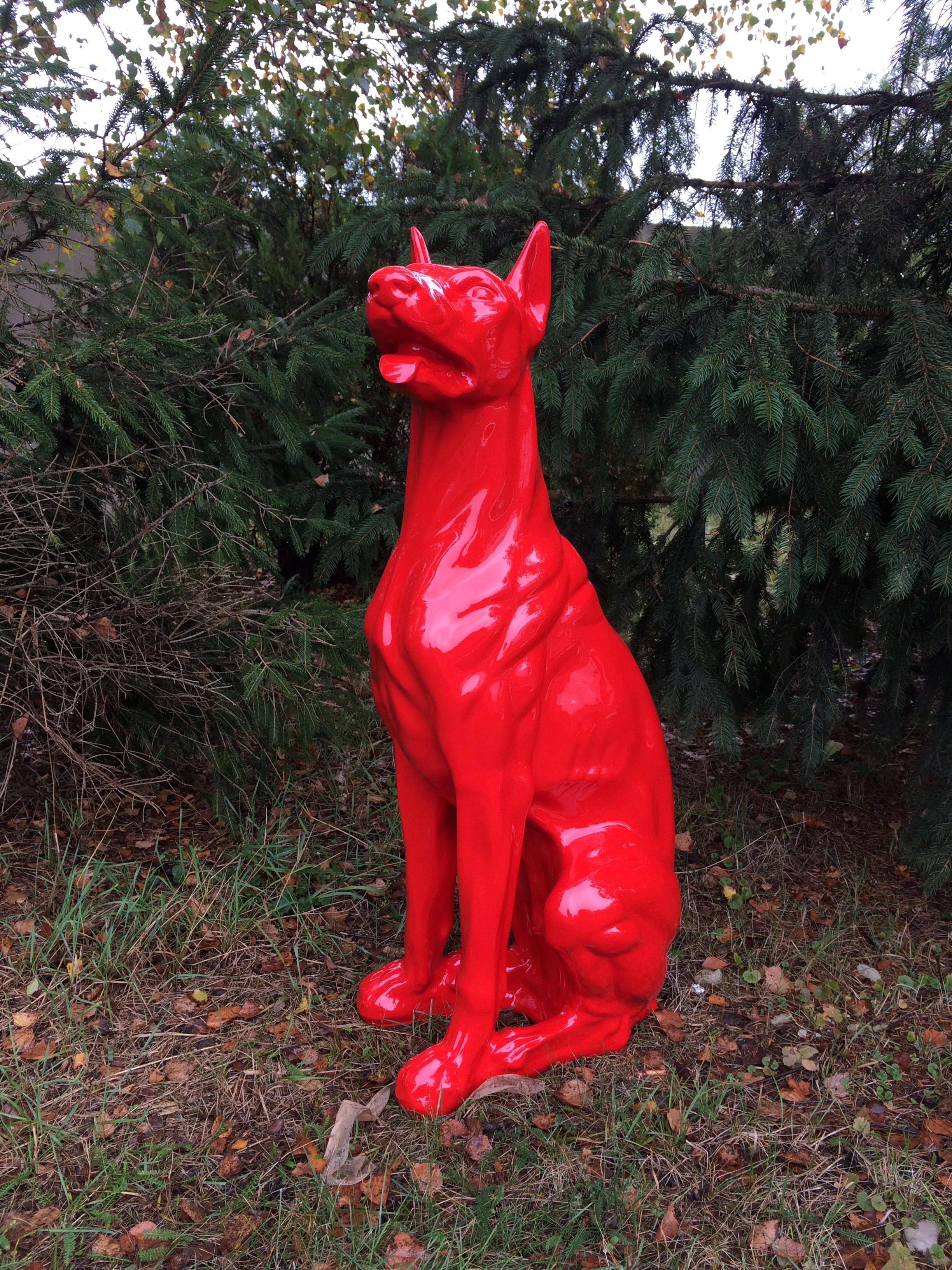 Design Dobermann Figur Hundefigur Hund Deko Statue Skulptur Garten Doberman Design Figuren